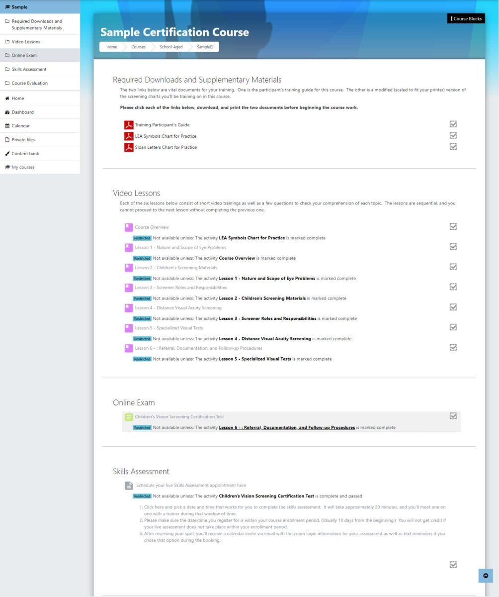 Sample Screenshot of Online Certification Platform